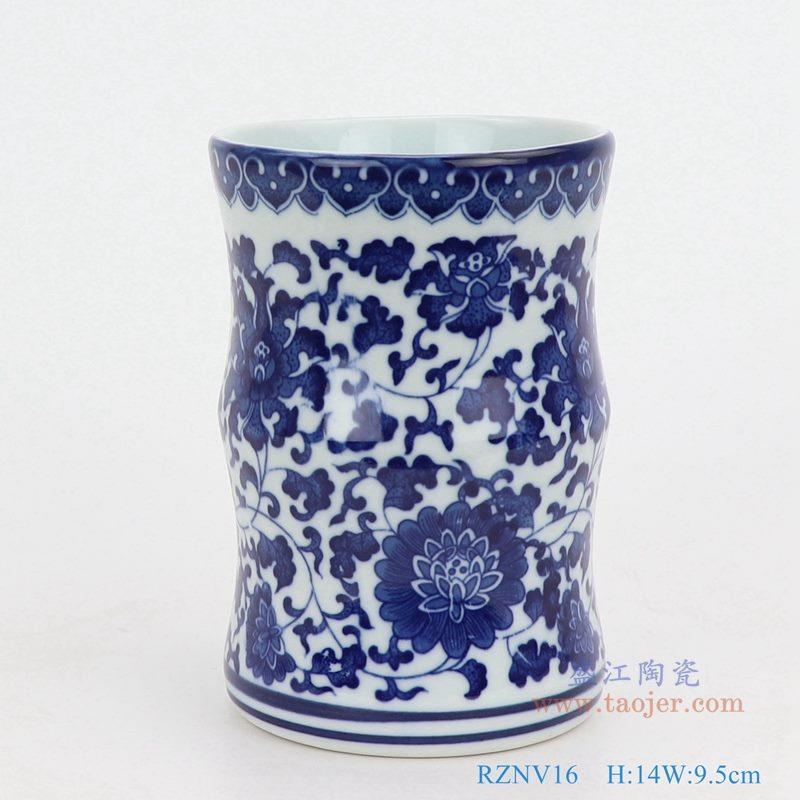 上图:青花缠枝莲纹圆形筒青花敞口竹节形笔筒小花瓶  购买请点击图片