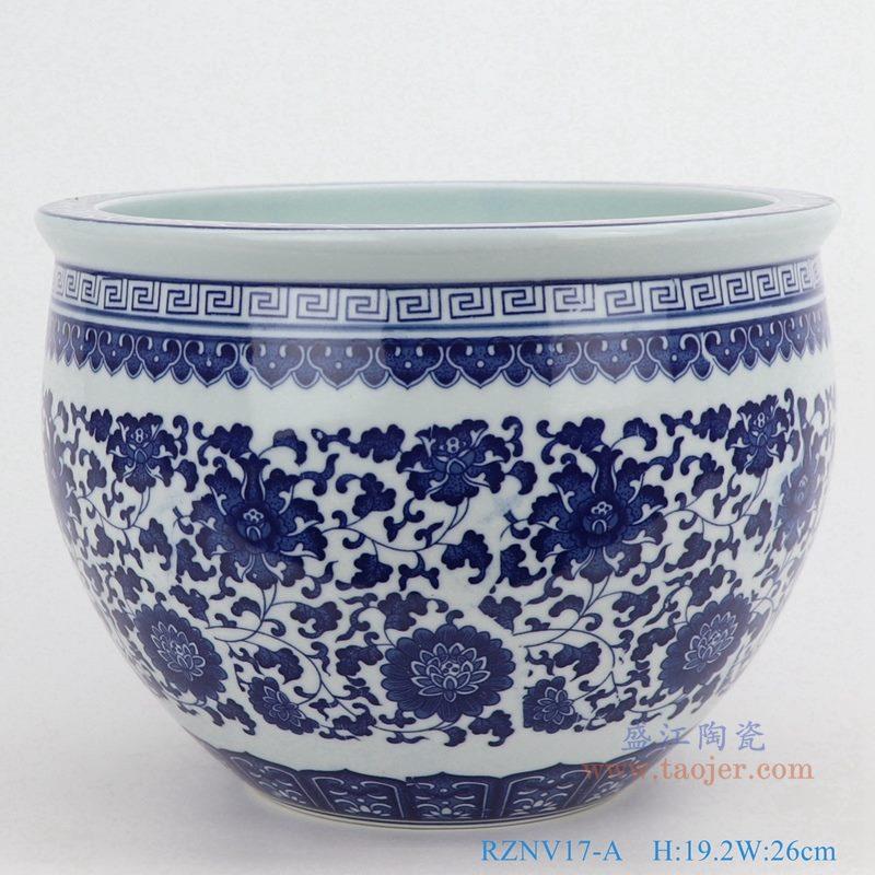 上图:青花缠枝莲纹圆形小缸 购买请点击图片