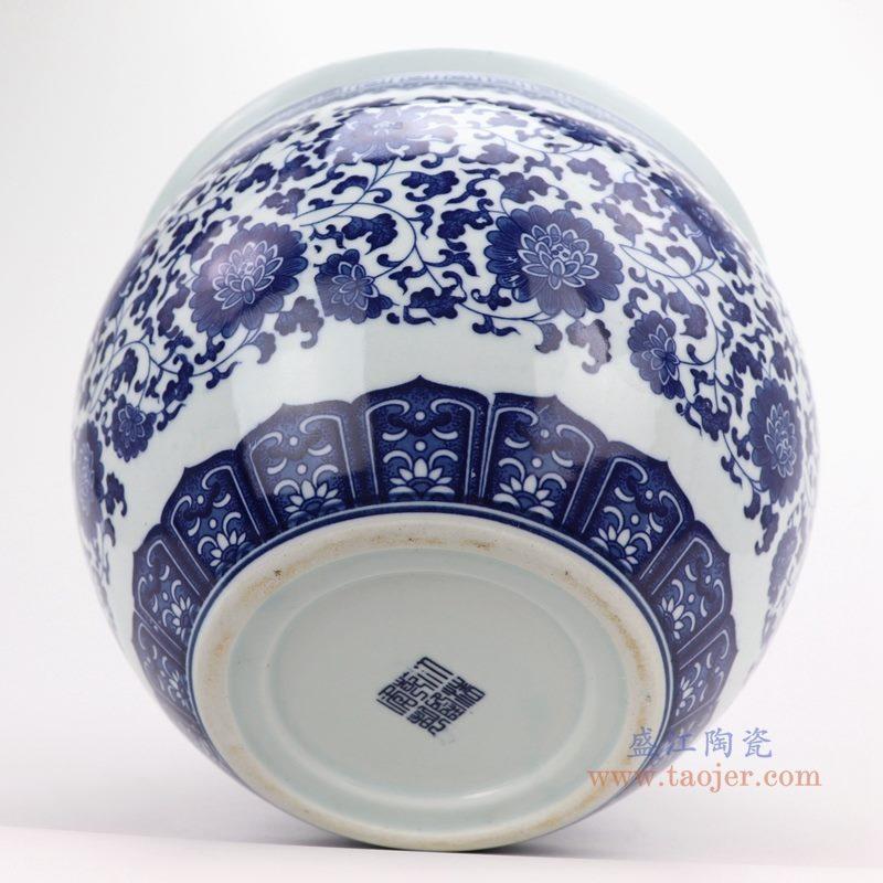 上图:青花缠枝莲纹圆形小缸底部图 购买请点击图片