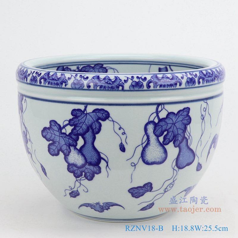 上图:青花葫芦纹纹圆形小缸 购买请点击图片