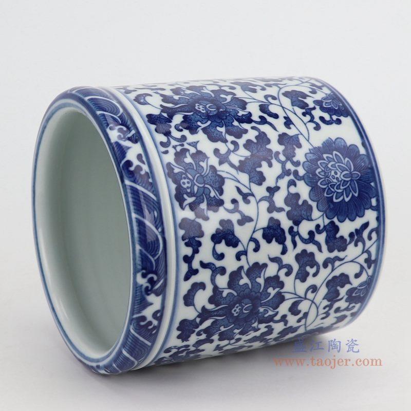 上图:青花缠枝莲纹圆形笔筒侧面图   购买请点击图片