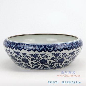 RZNV21-青花缠枝莲纹圆形笔洗水浅