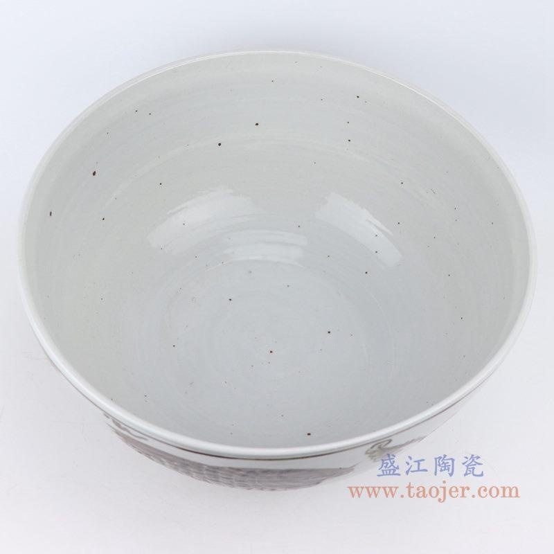 上图:仿古做旧手绘14寸酱色釉里红双鱼鱼藻纹大碗里面图 购买请点击图片