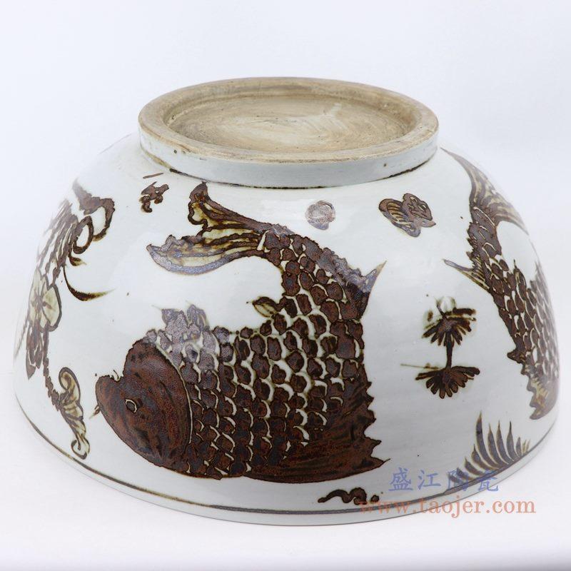 上图:仿古做旧手绘14寸酱色釉里红双鱼鱼藻纹大碗底部图 购买请点击图片