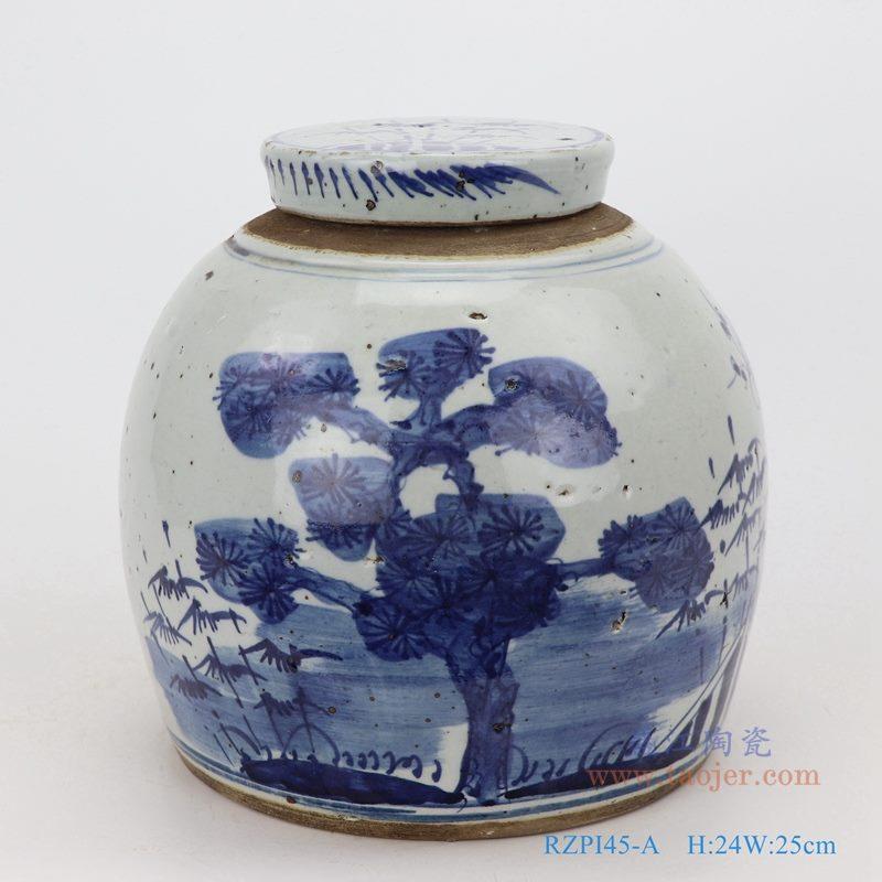 上图:仿古做旧青花松竹梅眀罐储物茶叶罐子正面图   购买请点击图片