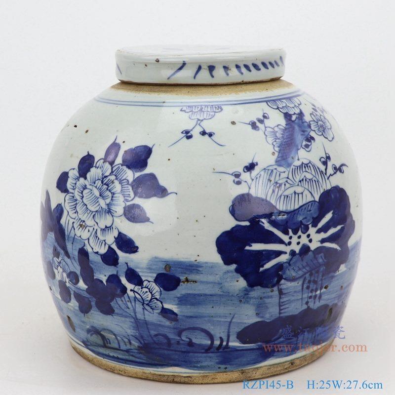 上图:仿古做旧青花荷花牡丹梅花四季花眀罐储物茶叶罐子正面图  购买请点击图片