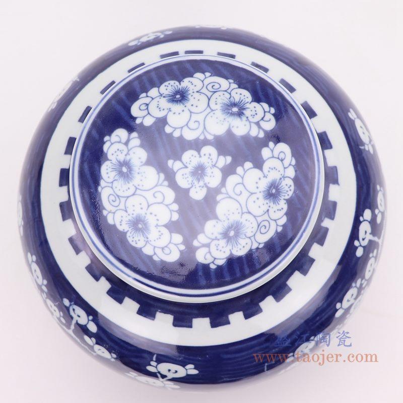 上图:青花冰梅带盖坛罐子俯视图 购买请点击图片