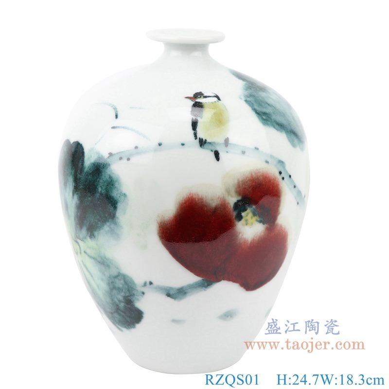 上图:RZQS01手绘釉下彩写意荷花花鸟花瓶正面 购买请点击图片