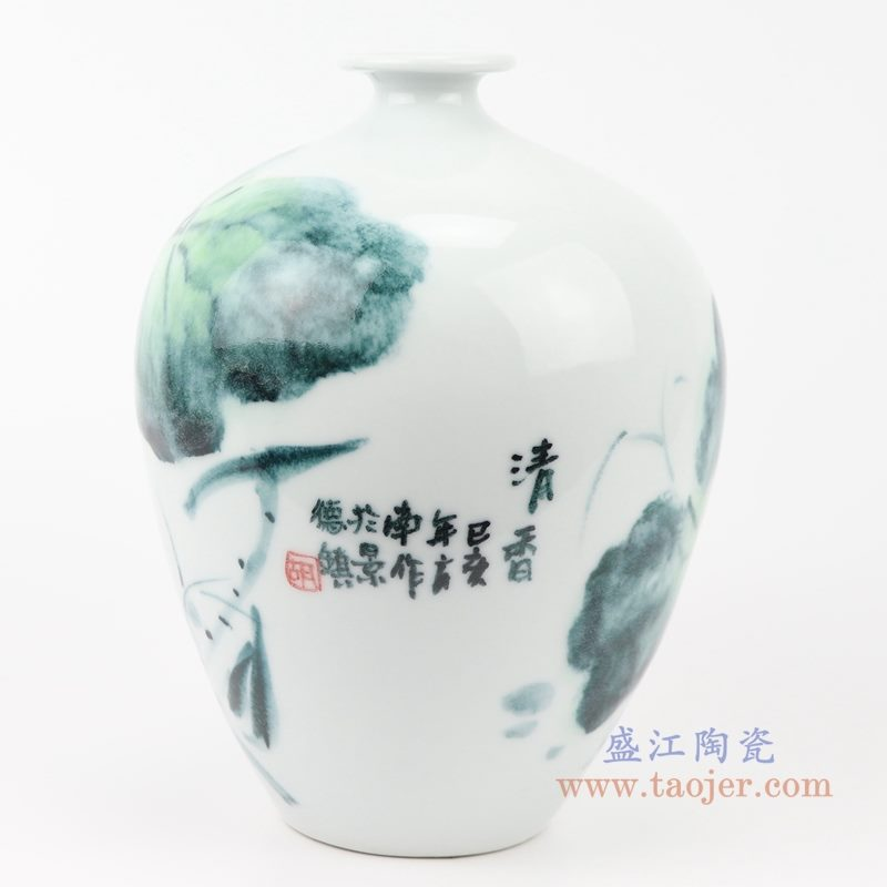 上图:RZQS01手绘釉下彩写意荷花花鸟花瓶背面 购买请点击图片