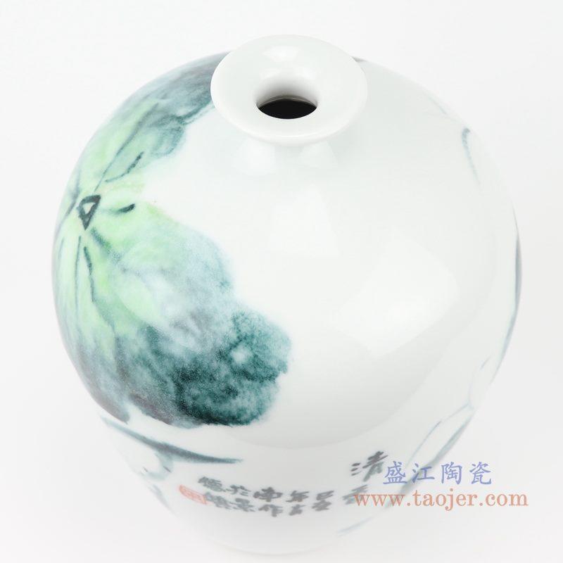 上图:RZQS01手绘釉下彩写意荷花花鸟花瓶口部 购买请点击图片