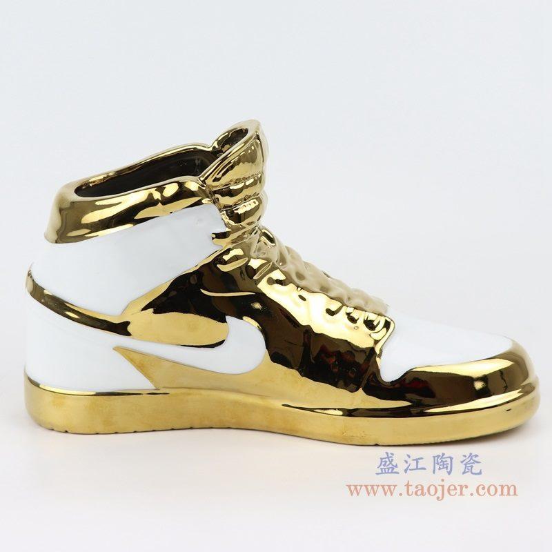 上图:RZQU02白底镀金陶瓷雕刻耐克鞋子NIKE AJ 正面 购买请点击图片