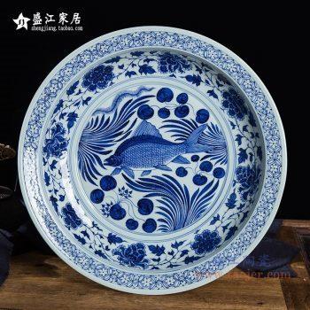 RZQV01仿古手绘元青花 鱼藻纹大盘