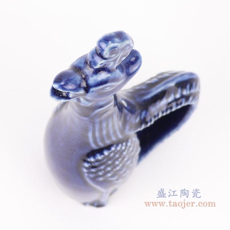 上图:祭蓝深蓝陶瓷公鸡雕塑鸡水壶俯视图 购买请点击图片