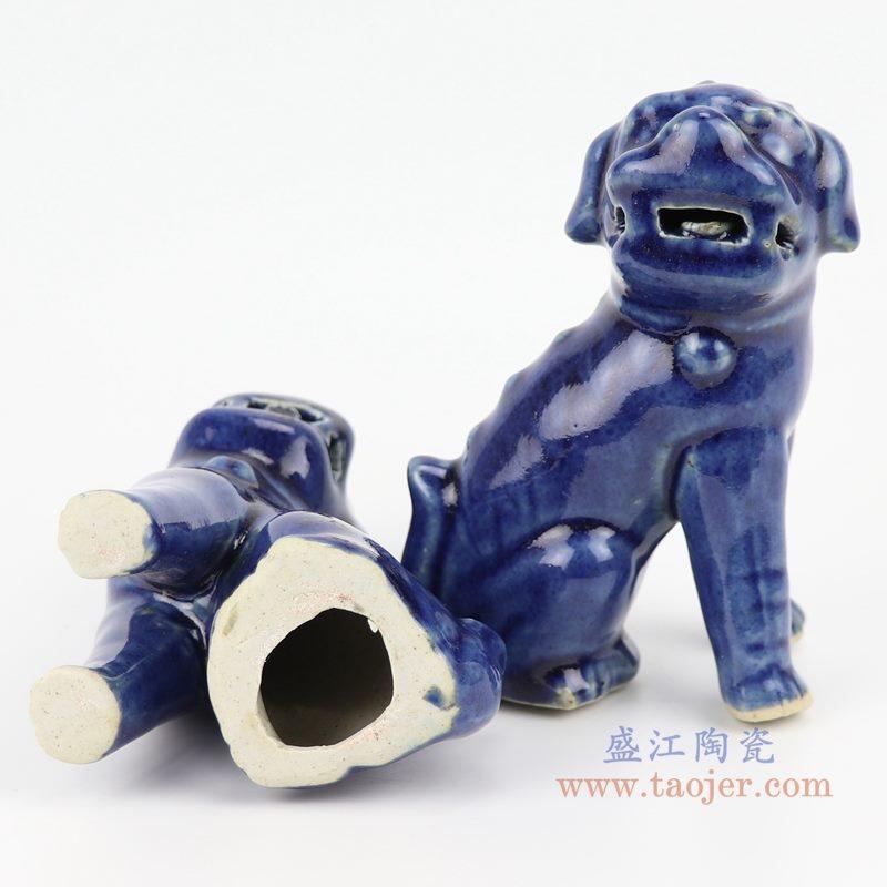 上图;祭蓝深蓝狮子狗坐姿雕塑瓷狮底部图 购买请点击图片