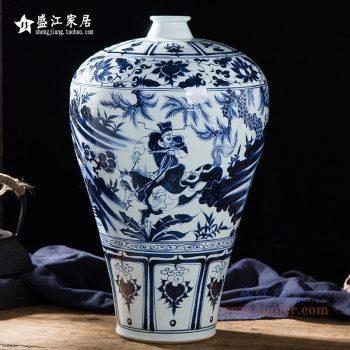 RZQo14仿手绘元青花 萧何月下追韩信梅瓶