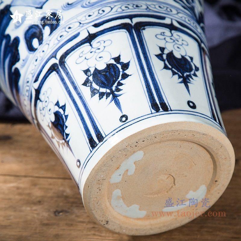 上图:RZQo14仿手绘元青花 萧何月下追韩信梅瓶 底部 购买请点击图片