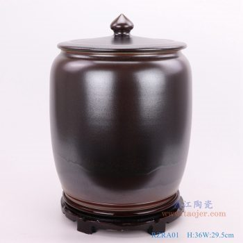 RZRA01-颜色釉茶叶末釉酱色带盖茶叶罐储物罐