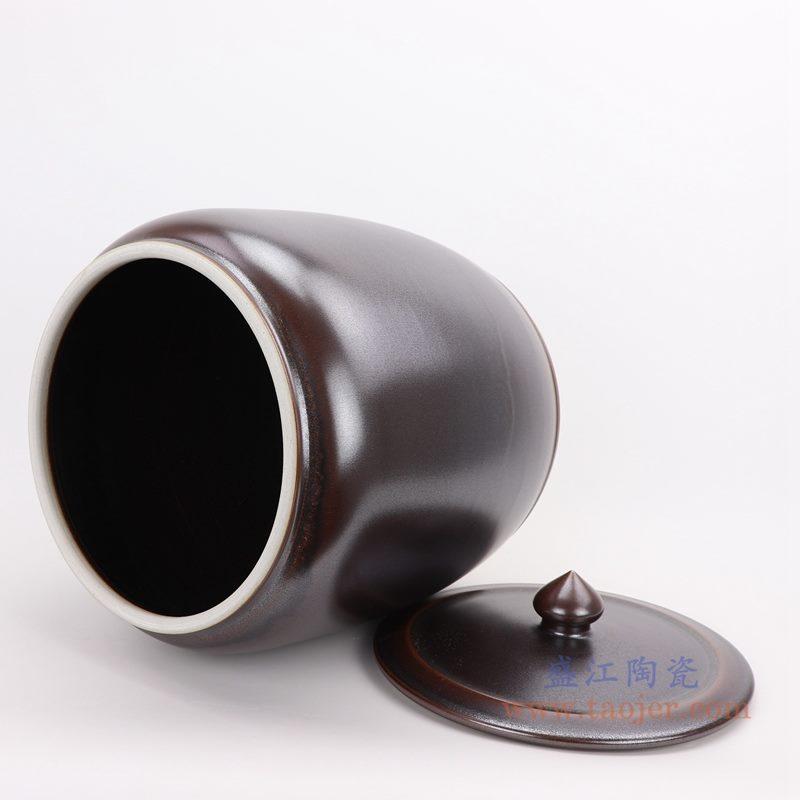 上图:颜色釉茶叶末釉酱色带盖茶叶罐储物罐口部图  购买请点击图片