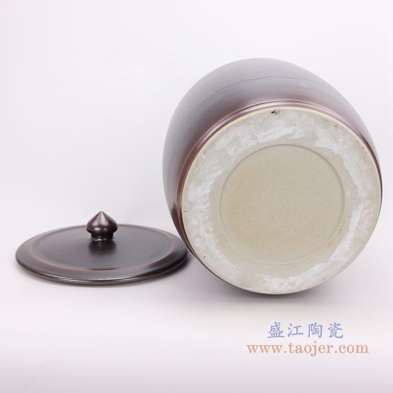 上图:颜色釉茶叶末釉酱色带盖茶叶罐储物罐底部图  购买请点击图片