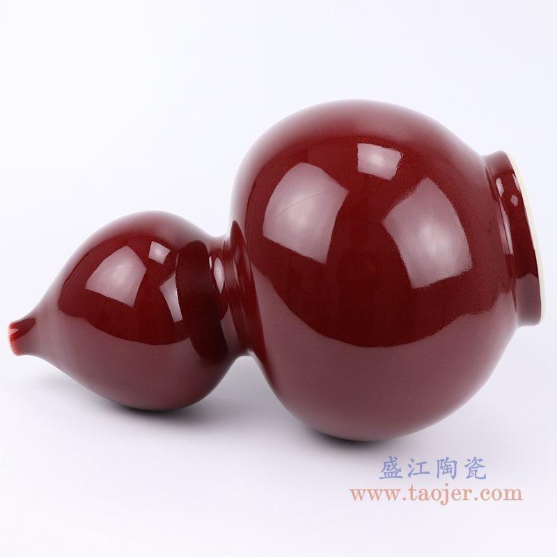 上图:郎紅釉葫芦瓶红色花瓶侧面图 购买请点击图片