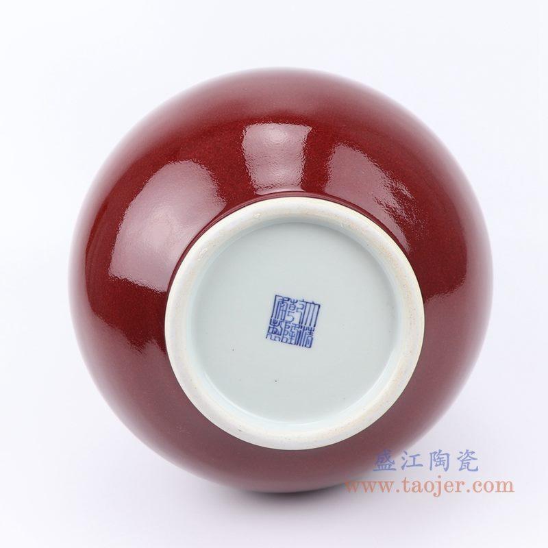 上图:郎紅釉葫芦瓶红色花瓶底部图 购买请点击图片