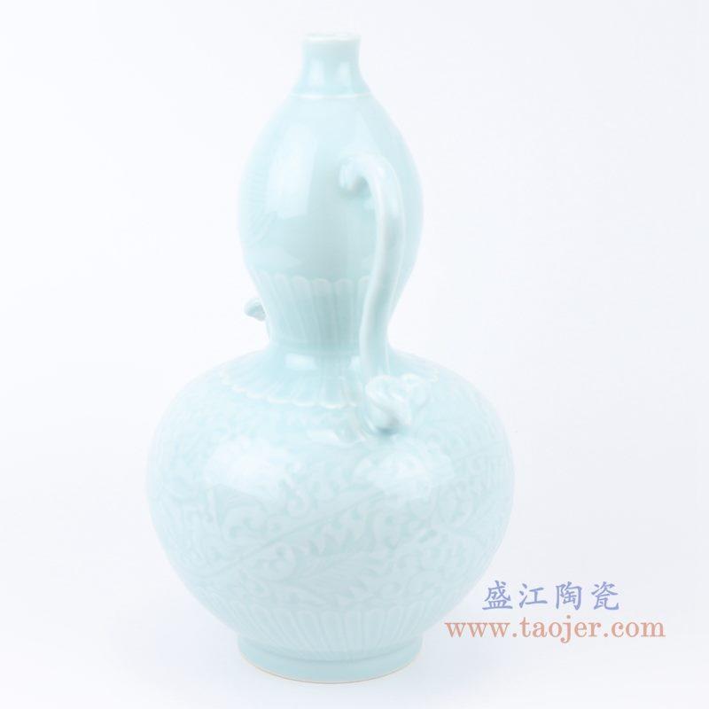 上图:影青雕刻缠枝花卉双耳葫芦瓶花瓶侧面图 购买请点击图片