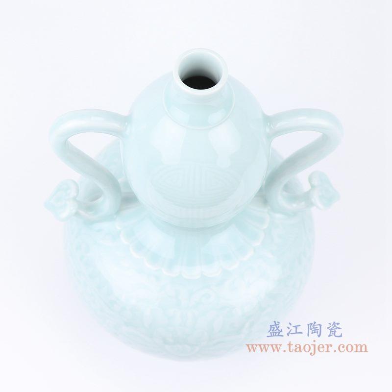 上图:影青雕刻缠枝花卉双耳葫芦瓶花瓶口部图 购买请点击图片