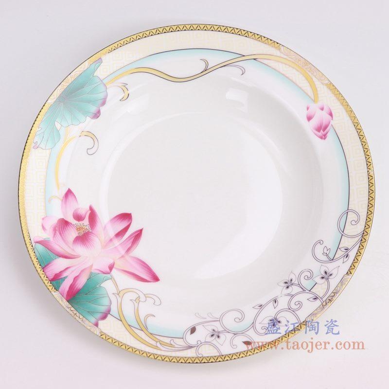 上图:醉凡尘15件荷花图案陶瓷餐具   购买请点击图片