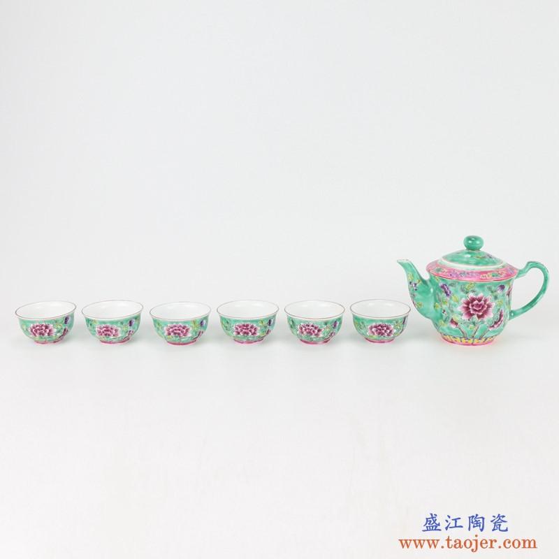 上图:粉彩绿色牡丹纹镀金茶壶茶杯8件套