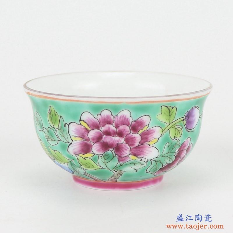 上图:粉彩绿色牡丹纹镀金茶壶茶杯8件套杯子图片