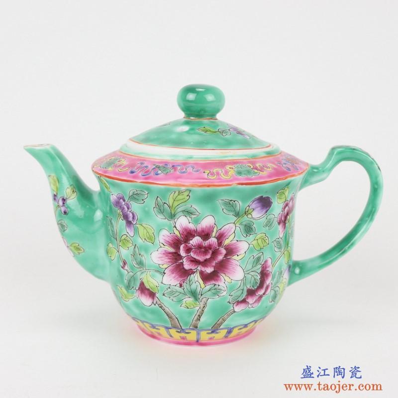 上图:粉彩绿色牡丹纹镀金茶壶茶杯8件套茶壶图片