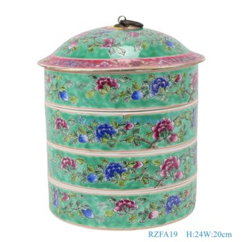RZFA19-粉彩绿色底牡丹纹带铜环盖镀金四层食盒
