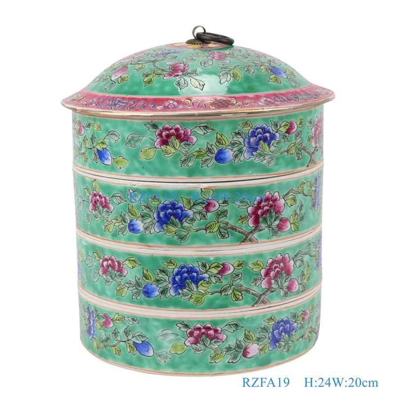 上图:粉彩绿色底牡丹纹带铜环盖四层食盒