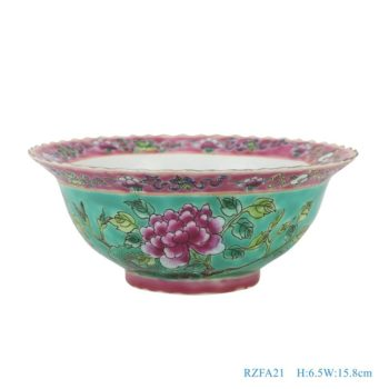 RZFA21-粉彩绿色底凤凰牡丹纹镀金花边6寸碗