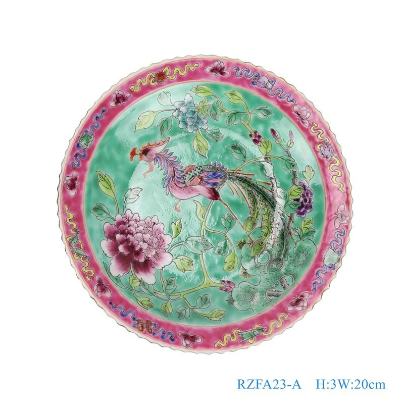上图:粉彩绿色底凤凰牡丹纹8寸镀金花边盘