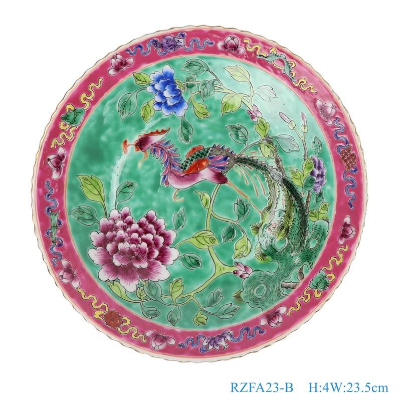 上图:粉彩绿色底凤凰牡丹纹9寸镀金花边盘