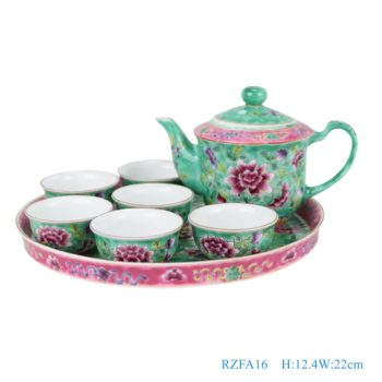 RZFA16-粉彩绿色牡丹纹镀金茶壶茶杯8件套