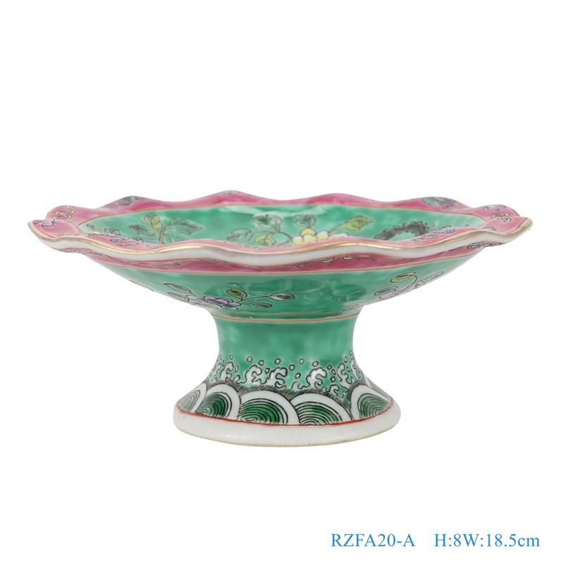 上图:粉彩绿色底凤凰牡丹纹高脚镀金花边果盘小号