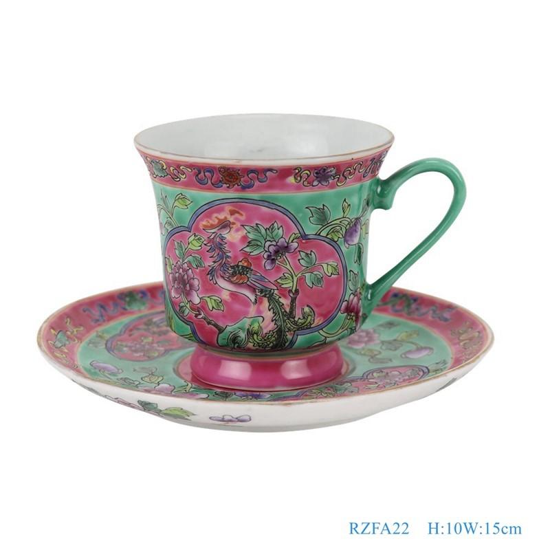 RZFA22-粉彩绿色底开光开窗凤凰牡丹纹镀金咖啡杯子碟子一套