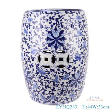 RYNQ263 景德镇陶瓷手绘青花缠枝莲圆鼓凳