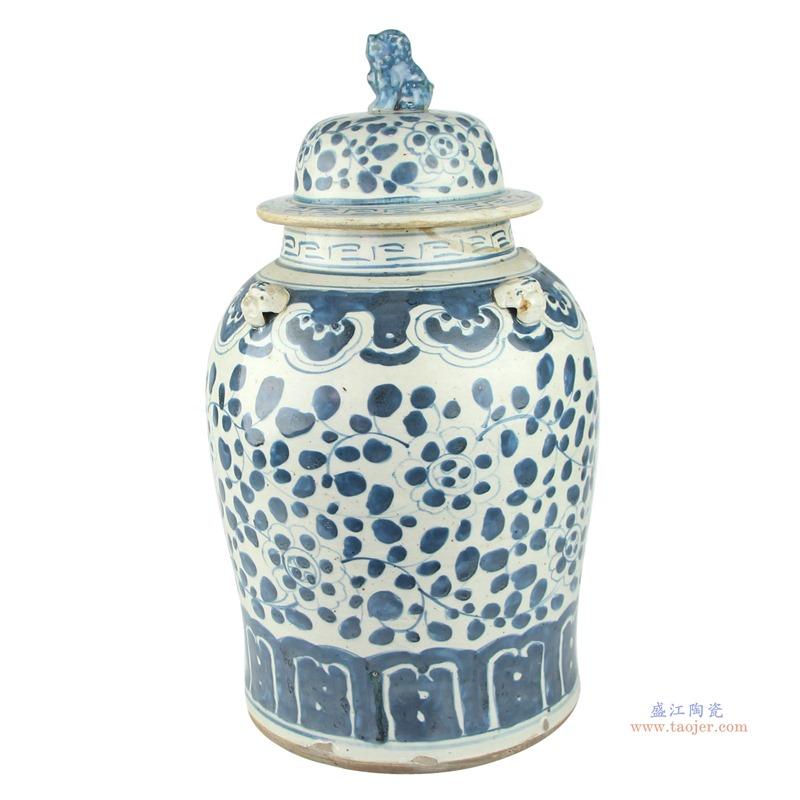 景德镇陶瓷器花瓶手绘仿古花瓣青花瓷器