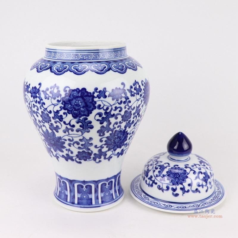 景德镇 陶瓷青花瓷将军罐摆件仿古手绘
