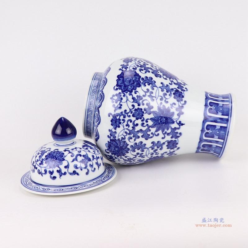 陶瓷青花瓷将军罐摆件仿古手绘