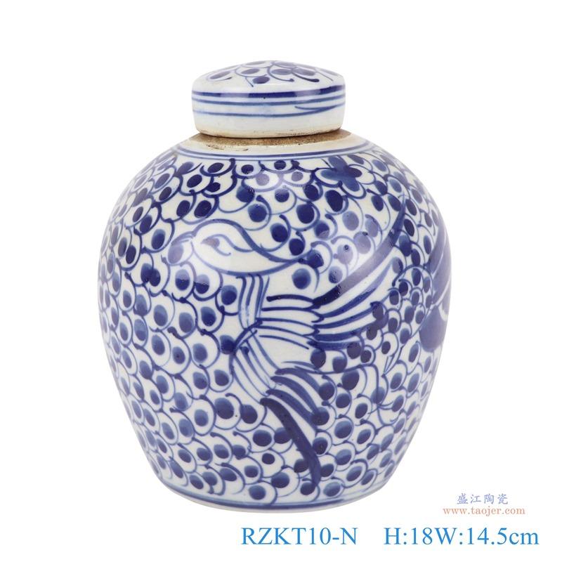 青花缠枝莲民窑古玩古董仿古茶叶罐