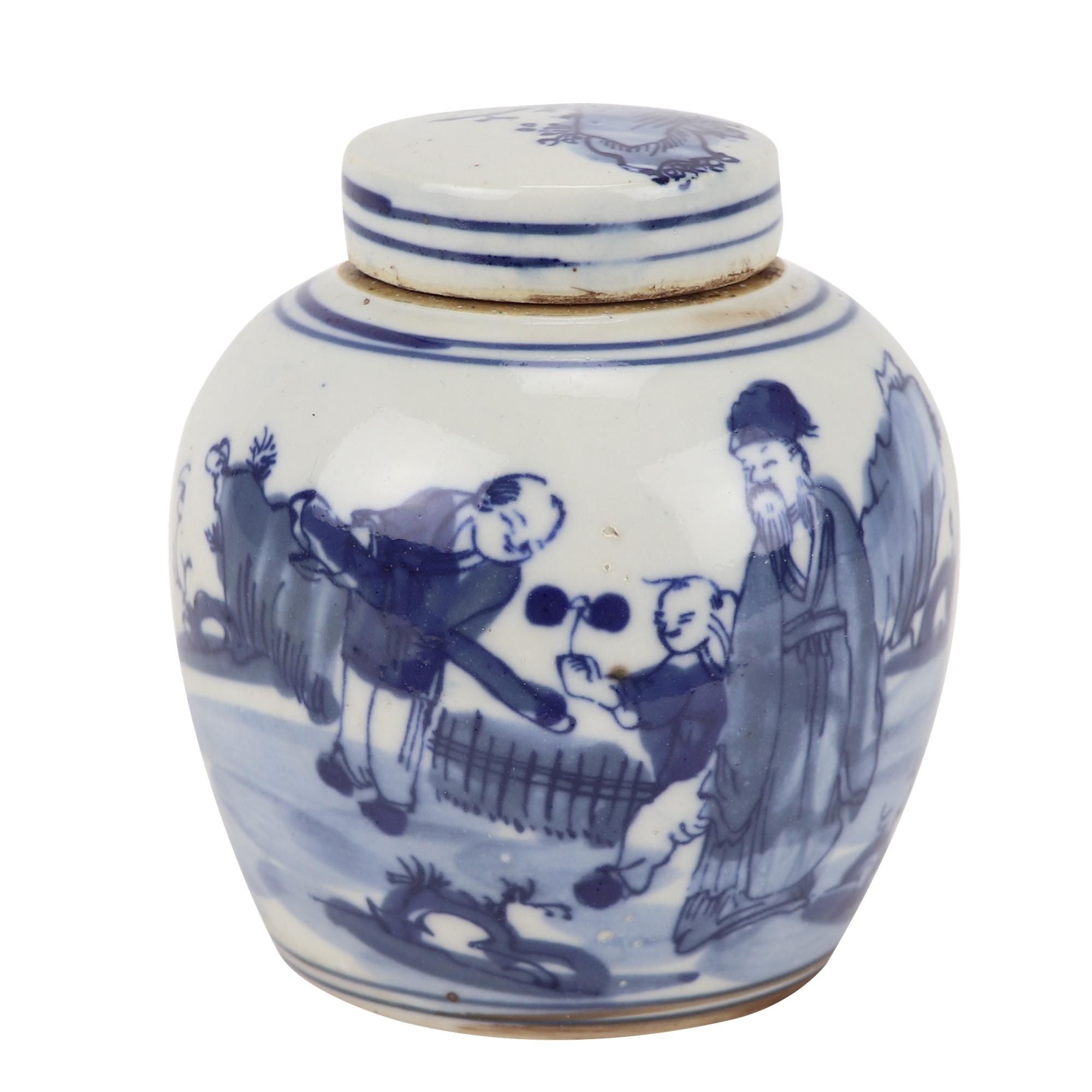 青花瓷老人与小孩设计的陶罐