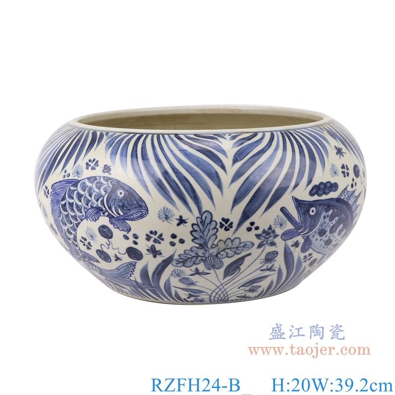 陶瓷仿古元青花鱼藻和龙纹陶瓷罐子
