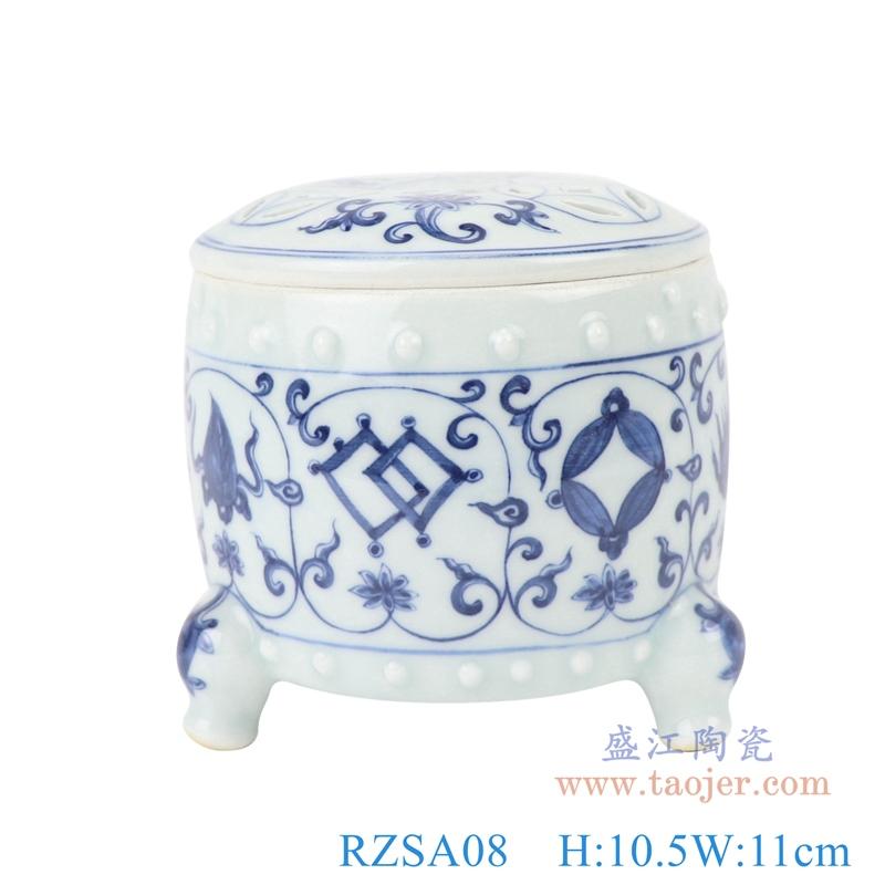 仿古三足香炉青花缠枝莲陶瓷罐子