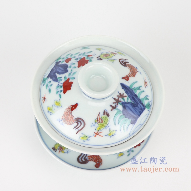 RZSA07-F 柴窑明成化斗彩子母鸡纹天字茶杯仿制古董瓷器