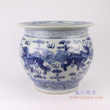 RZSD01 陶瓷器手绘龙纹青花鱼莲花缸