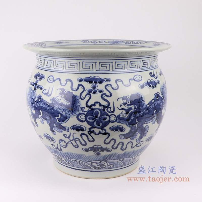 RZSD01 陶瓷器手绘青花鱼莲花缸